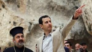 Präsident Baschar al-Assad besucht die syrische Kleinstadt Maalula, eine Hochburg der syrischen Christen; Foto: dpa
