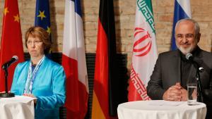 EU-Außenbeauftragte Catherine Ashton und iranischer Außenminister Mohammed Dschawad Sarif; Foto: Reuters