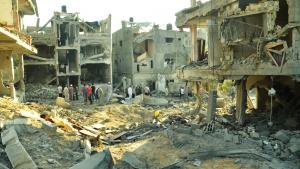 Zerstörte Häuser in Gaza am 19.07.2014; Foto: DW/Shawgy el Farra