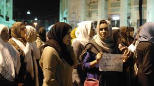 Libysche Frauen demonstrieren gegen Gewaltausübung durch Milizen; Foto: Valerie Stocker