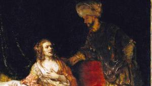 """Rembrandt: """"Joseph und die Frau des Potiphar"""", 1655. Detail, Öl auf Leinwand; Foto: © bpk / Staatliche Museen zu Berlin, Gemäldegalerie / Jörg P. Anders"""