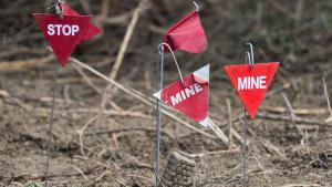 Symbolbild Markierungen von Landminen; Foto: imago