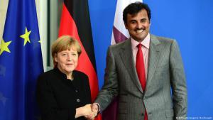 Bundeskanzlerin Merkel und der Emir von Qatar am 17.09.2014 in Berlin; Foto: AFP/Getty-images/J. MacDougall
