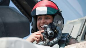 Kampfjet-Pilotin Mariam al-Mansouri; Foto: picture-alliance/abaca
