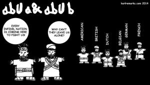 "Comic-Strip ""Abu A & Abu B"" des libanesisch-irakischen Bloggers Karl Sharro; Quelle: karlremarks.com 2014"