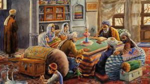 """Abdul Ghafur Brechnas Bild """"Sandali"""" des Buches Afghanische Redensarten und Volksweisheiten im Afghanistik Verlag"""