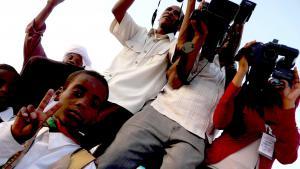 Libysche Journalisten in der Ortschaft Murzuk, im Südwesten Libyens; Foto: Valerie Stocker