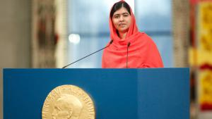 Rede Malalas anlässlich der Friedensnobelpreis-Verleihung am 10.12.2014 in Oslo; Foto: Reuters/NTB Scanpix/C. Poppe