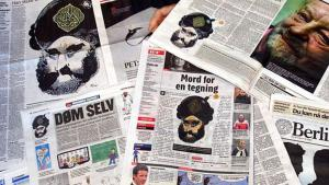 Die Mohammed-Karikaturen in dänischen Zeitungen; Foto:  © AFP/Getty Images