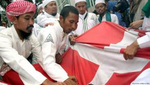 Indonesische Muslime zerreißen dänische Flagge, Foto: dpa/picture-alliance