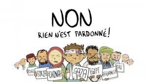 "Screenshot der aktuellen ""Cafcaf""-Ausgabe mit dem Schriftzug ""Non. Rien n'est pardonné"""