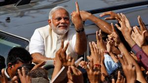 Der hindu-nationalistische Ministerpräsident Narendra Modi während einer BJP-Veranstaltung in Ahmedabad; Foto: Reuters