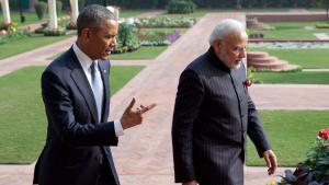 Staatsbesuch von US-Präsident Barack Obama bei Indiens Ministerpräsident Narendra Modi am 25.01.2015 in Neu Delhi; Foto: picture alliance/AP Images