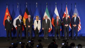 Pressekonferenz nach der Einigung bei den Atomverhandlungen mit den Vertretern der Islamische Republik, der fünf UN-Vetomächte und Deutschlands in Lausanne; Foto: AFP/Getty Images