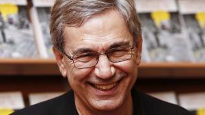 """Orhan Pamuk während einer Buchpremiere von """"Kafamda Bir Tuhaflik""""; Foto: picture-alliance/AA"""