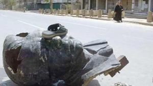 Gestürzte Saddam-Statue in Bagdad; Foto: AFP