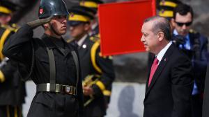 Der türkische Präsident Erdoğan während der Gedenkfeier für die Schlacht von Gallipoli im Jahr 1915 am 24. April 2015; Foto: Getty Iamges/ C. Koall