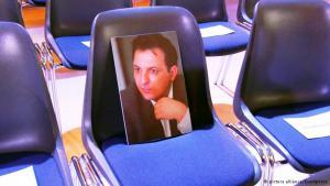 Freier Platz auf dem ersten Berliner Menschenrechtsforum: der syrische Journalist Mazen Darwish durfte nicht aus Syrien anreisen; Foto: picture-alliance/Eventpress