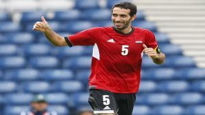 Mohammed Aboutreika nach einem Torschuss im Spiel gegen Weißrussland bei den Olympischen Spielen 2012 in London; Foto: Reuters