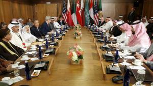 US Präsident Obama bei einem Gipfel mit Vertretern des Golfkooperationsrats im Camp David. Foto: Reuters/ K. Lamarque