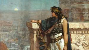 Zenobia, gemalt von Herbert Gustave Schmalz im Jahr 1888, schaut auf Palmyra zurück, nachdem sie von den Römern unter Aurelian gefangen genommen wurde; Foto: picture-alliance/heritage-images