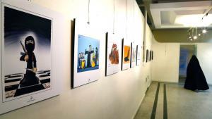 Ausstellung von IS-Karikaturen in Teheran; Foto: picture-alliance/dpa/A. Taherkenareh