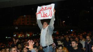 Jordanischer Demonstrant in Amman fordert den Sturz des Regimes am 13.11.2012; Foto: Jamal Fkhaidah/DW