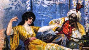 """Abbildung """"Tausend und eine Nacht"""": Jungfrau Scheherazade erzählt König Schahriyar Geschichten, um ihr Leben zu retten; Quelle: picture-alliance/akg-images"""