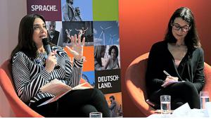 Litrix.de Panel: Rania Zaghir und Amira El-Ahl, vlnr (Foto: Goethe-Institut/Mirko Lux)