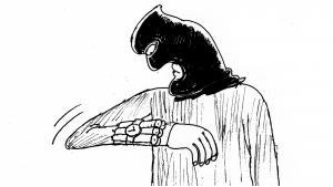 Karikatur von Abdul Raheem Yassir: Dschihadist mit Zeitzünder als Sinnbild totaler Zerstörung, der auch vor sich selbst nicht Halt macht; Foto: Abdul Raheem Yassir