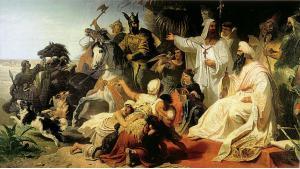 Harun al-Raschid empfängt die Gesandtschaft Karls des Großen im Jahr 786, Gemälde  von Julius Köckert (1864); Quelle: Maximilianeum/München