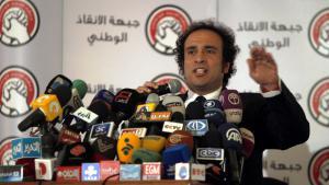Der ägyptische Intellektuelle und ehemalige Oppositionspolitiker Amr Hamzawy während einer Wahlveranstaltung seiner liberalen Partei im Dezember 2012; Foto: picture-alliance/dpa