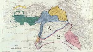 Geographische Aufteilung der Region des Nahen Ostens nach dem Ende des Osmanischen Reiches im Rahmen des Sykes-Picot-Abkommens; Quelle: British Library