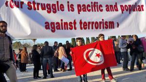 Solidaritätsdemonstration für die Opfer des Anschlags auf das Bardo-Museum am 19.3.2015 in Tunis; Foto: DW/Sarah Mersch