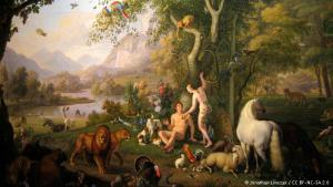 """Adam und Eva im irdischen Paradies: Sowohl im Christentum als auch im Judentum gilt die Bewahrung der Schöpfung als eine der Aufgaben, die Gott dem Menschen übertragen hat: """"Und Gott der Herr nahm den Menschen und setzte ihn in den Garten Eden, dass er ihn bebaute und bewahrte"""" (Bibel, Genesis 2, 15)"""