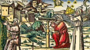 Holzschnitt: Mittelalter - arabische Astrologen mit Meßgeräten; Quelle: picture-alliance/akg