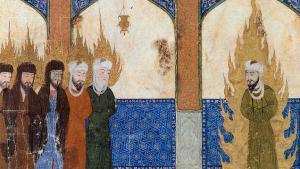 Persische Miniatur, in der Mohammed (rechts) Abraham, Mose, Jesus und andere Propheten im Gebet anleitet Foto: Barbara Hanawalt, Oxford University Press   Public Domain
