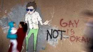 Homosexuellenfeindliches Graffity an einer Hauswand; Foto: Getty Images/AFP/A. Nimani
