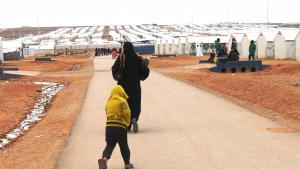 Blick auf das Flüchtlingslager Azraq in Jordanien; Foto: Dana Ritzmann