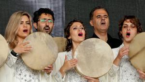 "Das ""Syrian Musicians Orchestra""; Foto: picture-alliance/PA Wire  /Y. Mok"