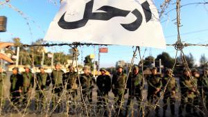 """""""Haut ab!"""" - Schild an einer Absperrung von Soldaten der republikanischen Garde vor dem Präsidentenpalast in Kairo; Foto: Reuters"""