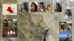 Das Bild zeigt die Ausdehnung der irakischen Sumpfgebiete im Süden des Landes, wo Euphrat und Tigris zusammenfließen. In ihrem Delta finden sich weite Sumpflandschaften, das irakische Marschland. Viele Jahrtausende war dieses Gebiet besiedelt und kultiviert. Die Sümpfe Mesopotamiens wurden in den letzten Jahrzehnten aus politischen und militärischen Gründen fast vollständig trockengelegt, die meisten Bewohner zwangsweise umgesiedelt oder vertrieben. Erst nach dem Sturz Saddam floss wieder das Wasser.