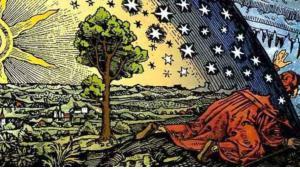 """Camille Flammarions Holzstich """"Un missionnaire du moyen âge raconte qu'il avait trouvé le point où le ciel et la Terre se touchent""""; Quelle: wikipedia"""