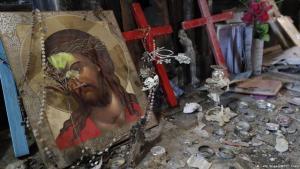 Zerstörte Kirche Al-Hamdaniya in Karakosch; Foto: Getty Images/AFP/T. Coex