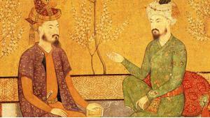 Historische Abbildung Baburs und seines Nachfolgers Humayun; Quelle: wikipedia