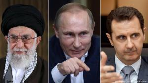 Ali Khamenei, Irans Revolutionsführer, Russlands Präsident Putin und Syriens Präsident Baschar al-Assad