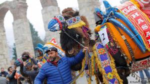 Am Vortag des traditionellen Ringkampfes im westtürkischen Selcuk gilt es zunächst, die Auswahlkommission eines Schönheitswettbewerbs zu beeindrucken. Das geht am besten in bunte Gewänder gehüllt und mit Glöckchen behangen. So ziehen die Kamele an der Leine ihrer Besitzer begleitet von Trommel- und Flötenklängen durch die Straßen.