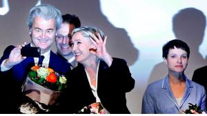 Treffen europäischer Rechtsparteien in Koblenz: Geert Wilders (l.) mit Marine le Pen (m.) und Frauke Petry (r.); Foto: AP