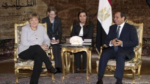 Bundeskanzlerin Merkel zu Besuch bei Ägyptens Präsident Al-Sisi am 2.3.2017 im Ittihadiya-Palast in Kairo; Foto: picture-alliance/dpa