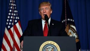US-Präsident Donald Trump während einer Rede nach dem Luftschlag in Syrien; Foto: Reuters